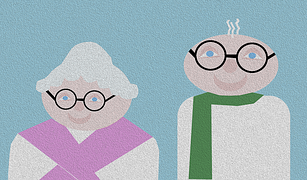 elderly couple cartoon
